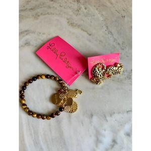 Lilly Pulitzer Jaguar earrings & bracelet set